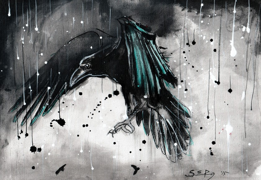Raven painting - in rainstorm