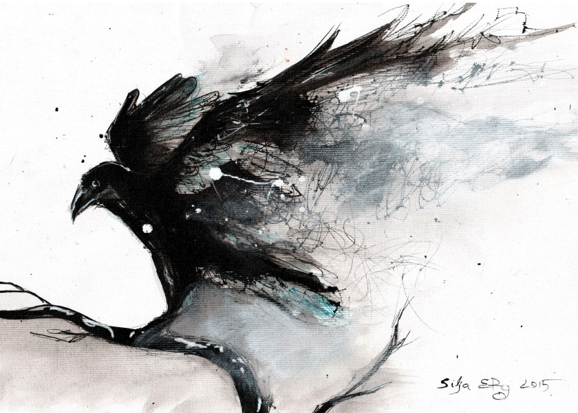 Abstract raven ink painting by 5erg