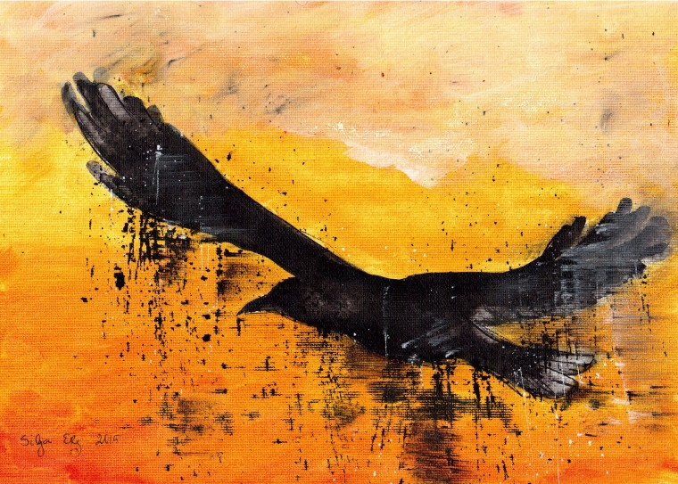 Abstract raven on orange