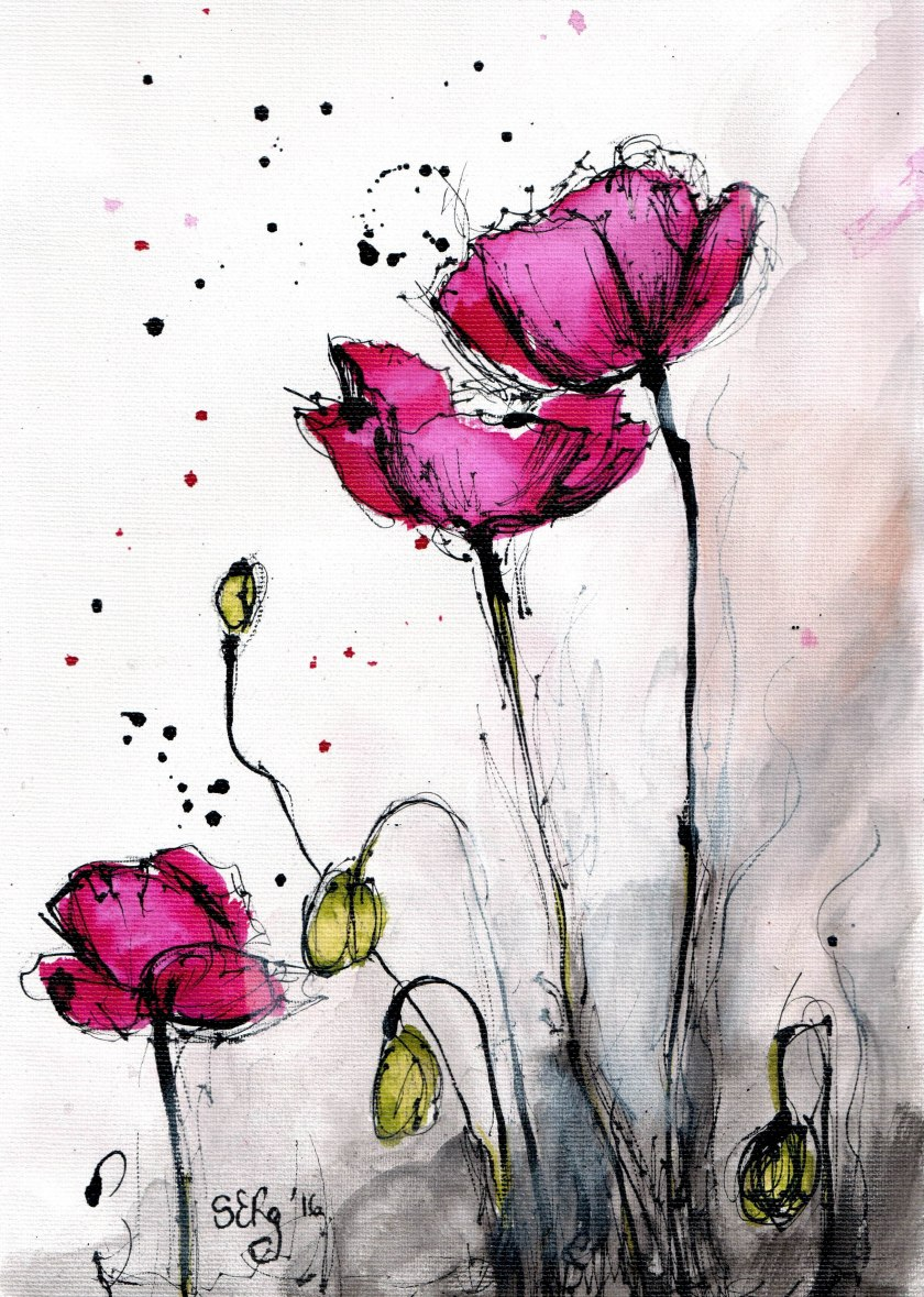 Ink painting on canvas poppies