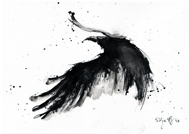 Abstract flying crow painting by silja erg