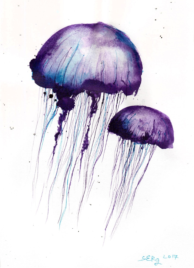 ink painting of jellyfish on canvas in europe