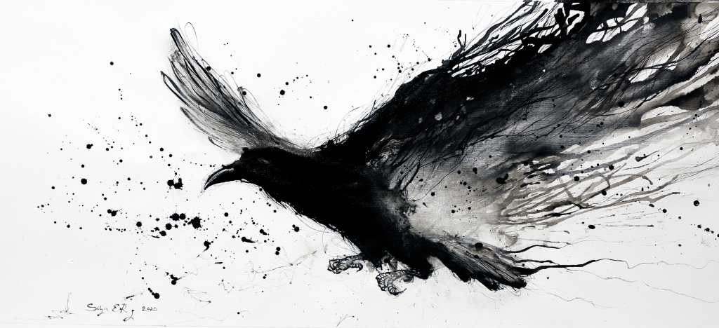 Black sumi ink painting raven by 5erg